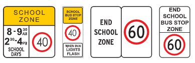 Various School Zone signs