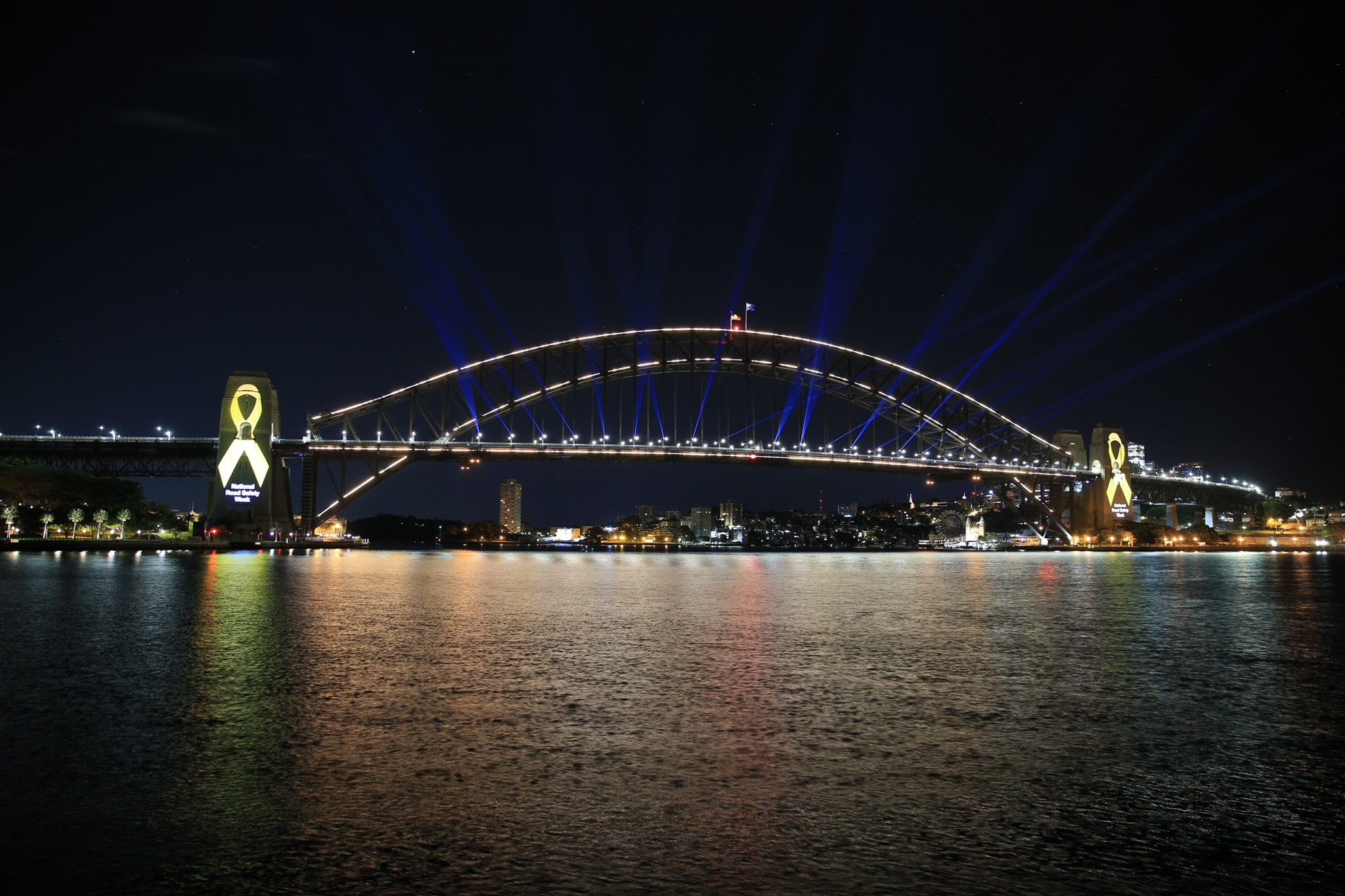 Sydney Harbour bridge lit up - Road Safety Week